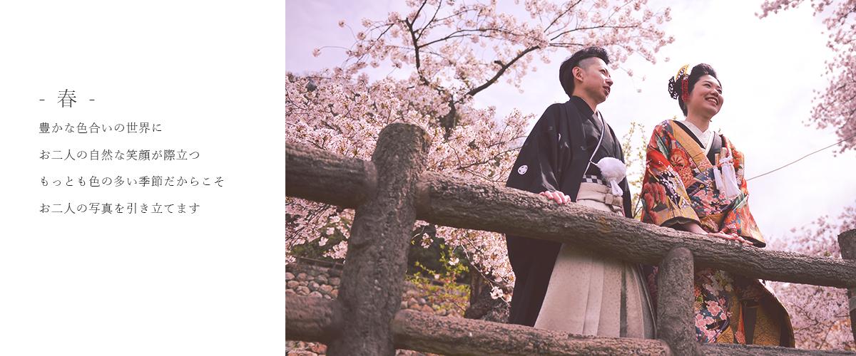 春鳥取で和装を着てフォトウェディングを撮影しております