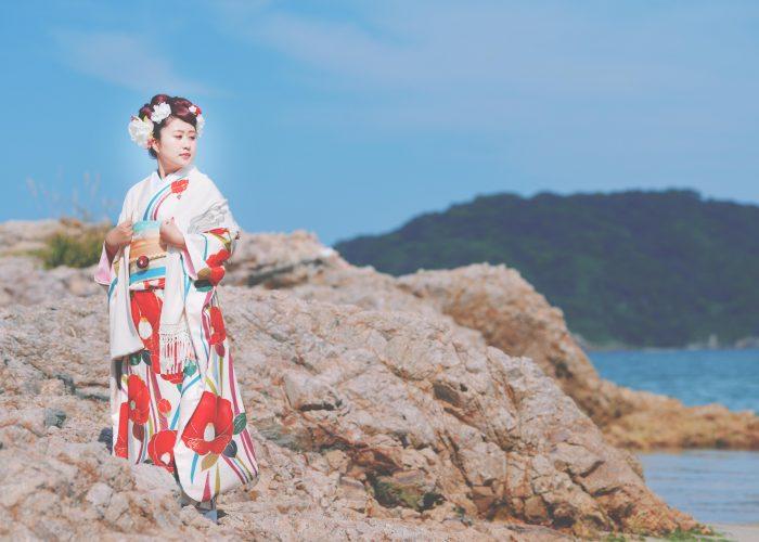 鳥取で成人式振袖を着て前撮りをした写真です3