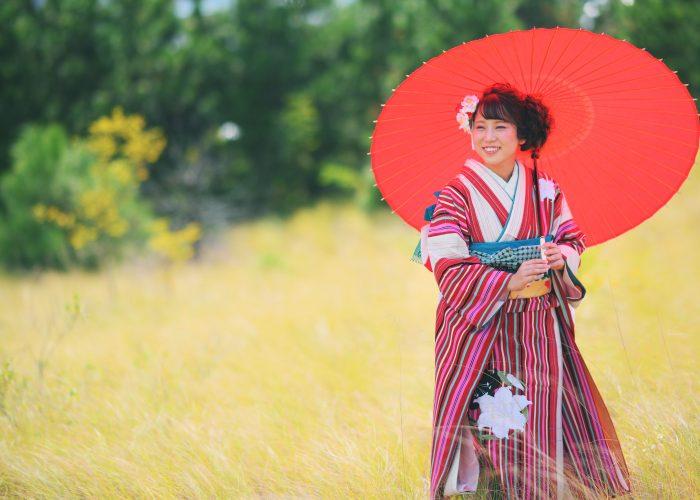 鳥取で成人式振袖を着て前撮りをした写真です5